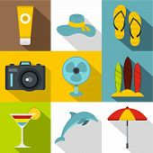 Trip To Sea Icons Set. Flat Illustration Of 9 Trip To Sea Icons For Web poster