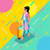 Isometrics A Girl In A Bright Raincoat, With A Lush Hairdo, A Suitcase, A Trip, A Trip, A Bright Tre poster