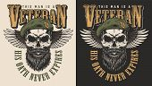 Veteran Concept Emblem With The Skull In Beret. Vector Illustration poster