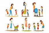 Cartoon Character Set Of Young Mothers With Kids. Pretty Woman With Newborn In Baby Carriage, Presch poster