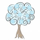 Vector Illustration Of A Tree With Snowflakes. Winter Tree. Tree With Snow. Christmas Tree Illustrat poster