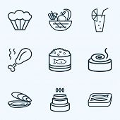 Nutrition Icons Line Style Set With Oyster, Chicken Leg, Muffin And Other Harvest Elements. Isolated poster