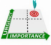 Focus on the things that are high in urgency as well as importance by plotting your priorities in th