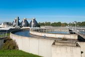 image of wastewater  - round bassin where the wasted water is being filtered - JPG