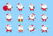 Santa Claus. Cartoon Christmas Fun Character Set For Winter Holiday Greeting Card. Santa Vector Coll poster