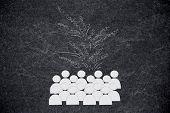 Creating Positivity Conceptual Illustration: Positive Feelings Above A Group Of People poster
