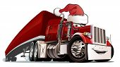 foto of semi-truck  - Vector cartoon Christmas truck - JPG