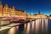 Copenhagen Cityscape at twilight night Denmark poster