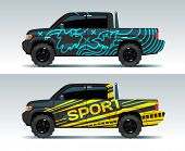 Racing Car Graphic. Truck Wrapping Background. Vehicle Branding Vector Design. Transport Race Auto,  poster