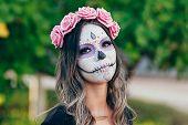 Closeup Portrait Of Calavera Catrina. Young Woman With Sugar Skull Makeup. Dia De Los Muertos. Day O poster