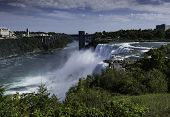 Niagara Falls, Usa - September 3, 2018: View Of American Falls With The Rainbow Bridge On September  poster