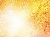 Grunge orange red and yellow background with white shiny rays - abstract design
