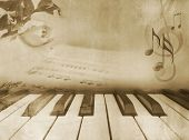 stock photo of ivory  - Grunge musical background  - JPG
