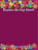 Colorful Hispanic Heritage Month Poster Template With Sun And Flower Borders poster
