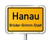 City limit sign HANAU against white background - vector illustration