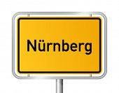 City limit sign NUREMBERG / NÃ?RNBERG against white background - federal state of Bavaria - vector i