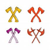 Crosses Axe Icon Set. Color Outline Set Of Crosses Axe Icons For Web Design Isolated On White Backgr poster
