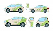 Electric Cars. Various Cartoon Eco Cars Isolate. Illustration Of Eco Automobile, Electric Car Transp poster