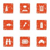 Cool Fishing Icons Set. Grunge Set Of 9 Cool Fishing Icons For Web Isolated On White Background poster