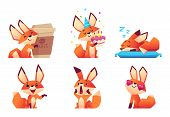 Cute Fox Character Collection. Wild Orange Animal At Forest In Various Funny Pose And Emotions Vecto poster