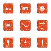 Dessert Morning Icons Set. Grunge Set Of 9 Dessert Morning Icons For Web Isolated On White Backgroun poster
