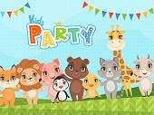 Jungle Animals Background. Celebration Placard Or Baby Shower Labels Wit Vector Pictures Of Cute Lit poster