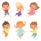 Jumping Children. Cute Surprised Playing Crazy Happy Kids Male And Female Boys And Girls Vector Cart poster