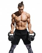 Strong Man Doing Exercises With Kettlebells At Biceps. Photo Of Young Man With Good Physique Isolate poster