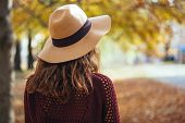 Rear View Of Brunette Girl In Autumn Fall Park In Brown Hat, Sweater And Trousers. Back View Of Autu poster