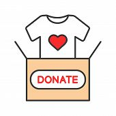 Clothes Donating Color Icon. Donation Box With T-shirt. Used Clothes. Charity. Isolated Vector Illus poster