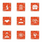 Scientific Assistance Icons Set. Grunge Set Of 9 Scientific Assistance Icons For Web Isolated On Whi poster