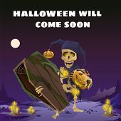 Poster In Style Of Holiday All Evil Halloween. The Skeleton In The Hat Of A Harlequin Holding A Wood poster