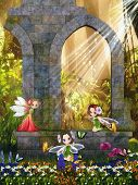 The Little Fairies Playing In The Ruins.