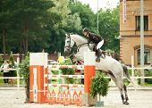 SAINT-PETERSBURG-JULY  17: Rider Anna Dmitrieva on Vivaldi  in Jumping show