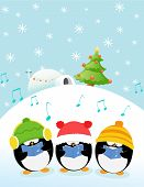 picture of christmas song  - Cute little caroler penguins singing christmas songs - JPG