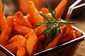 Healthy Homemade Baked Sweet Potato Fries. poster