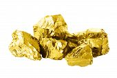 Group Of Golden Bars Isolated On White Background Close Up. Shining Golden Nuggets Isolated On White poster