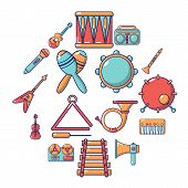 Musical Instruments Icons Set. Cartoon Illustration Of 16 Musical Instruments Icons For Web poster