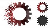 Gear Icon In Sparkle, Pixelated Halftone And Undamaged Entire Variants. Cells Are Combined Into Vect poster
