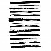 Grunge Ink Brush Strokes Set. Freehand Black Brushes. Handdrawn Dry Brush Black Smears. Modern Vecto poster