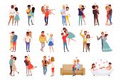 Young Men And Women Characters In Love Hugging Set, Happy Romantic Loving Couples Cartoon Vector Ill poster