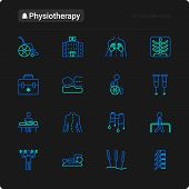 Physiotherapy Thin Line Icons Set: Rehabilitation, Physiotherapist, Acupuncture, Massage, Go-carts,  poster