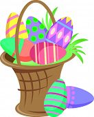 Vector Illustration of a Easter basket full of eggs