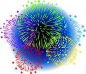 Vector Illustration of Fireworks with a dark blue sky behind them