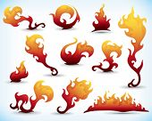 collection of fiery design elements