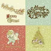 pic of christmas cards  - Set of Christmas Cards in vintage style - JPG