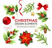 Christmas Design Elements Set. Xmas Decorations And Objects. Poinsettia, Fir Branch, Mistletoe Berri poster