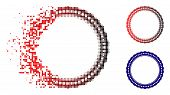 Dotted Rosette Circular Frame Icon In Dispersed, Dotted Halftone And Undamaged Entire Versions. Elem poster
