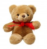 stock photo of teddy-bear  - Classic teddy bear with red bow isolated on white background - JPG