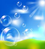 EPS10 vector realistic bubbles against blue sky background.